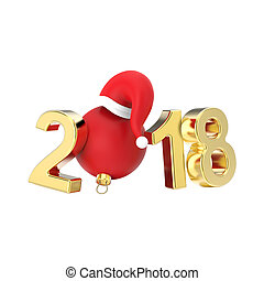 3D illustration isolated new year 2018 gold numbers and a red Christmas ball in the Santa Claus hat