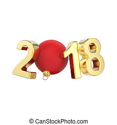 3D illustration isolated new year 2018 gold numbers and a red Christmas ball