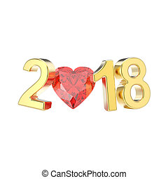 3D illustration isolated new year 2018 gold numbers and a red diamond heart