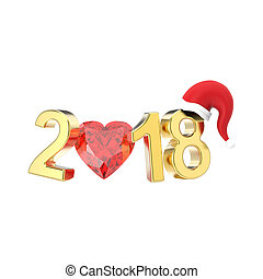 3D illustration isolated new year 2018 gold numbers in the Christmas Santa Claus hat and a red diamond heart
