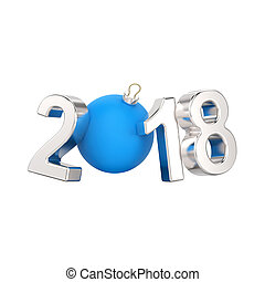 3D illustration isolated new year 2018 silver numbers and a blue ball