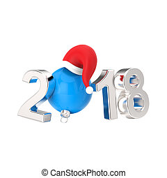 3D illustration isolated new year 2018 silver numbers and a blue Christmas ball in the Santa Claus hat