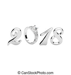 3D illustration isolated new year 2018 silver numbers with a diamonds ring