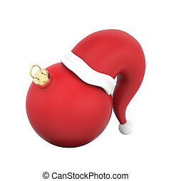 3D illustration isolated new year red Christmas ball in the Santa Claus hat