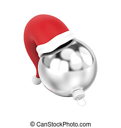 3D illustration isolated new year silver Christmas ball in the Santa Claus hat