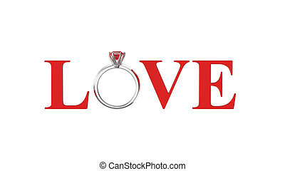 3D illustration isolated red text word love with ruby silwer ring on a white background