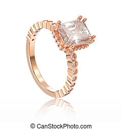 3D illustration isolated rose gold diamonds decorative ring with reflection
