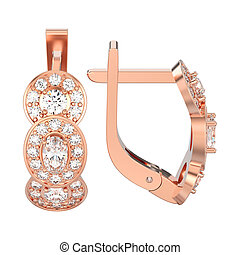 3D illustration isolated rose gold three stone solitaire diamond earrings with hinged lock