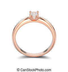 3D illustration isolated rose gold traditional solitaire engagement diamond ring with shadow on a white background