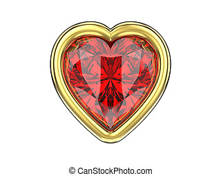 3D illustration isolated ruby diamond heart in gold frame