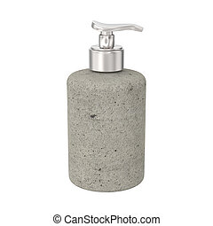 3D illustration isolated stone bottle with liquid soap