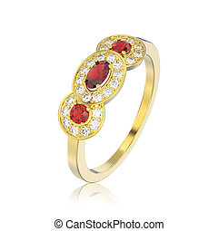3D illustration isolated three ruby stone solitaire engagement ring with reflection