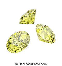 3D illustration isolated three yellow round diamonds stones
