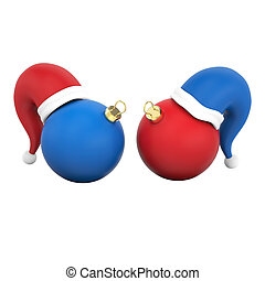 3D illustration isolated two new year red and blue Christmas balls in the Santa Claus hats