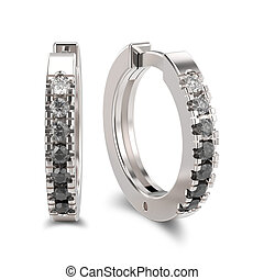 3D illustration isolated white gold or silver decorative earrings hinged lock with black and white gradient diamonds