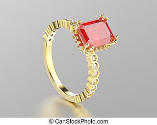 3D illustration isolated yellow gold decorative diamonds ruby ring with reflection