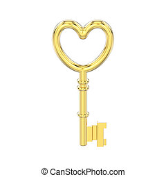 3D illustration isolated yellow gold decorative key in the form of a heart