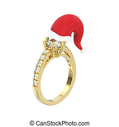 3D illustration isolated yellow gold solitaire engagement diamond ring in the Christmas Santa Claus hat
