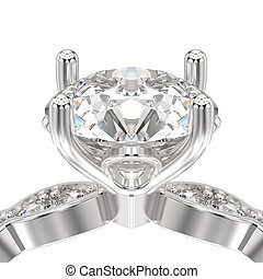 3D illustration isolated zoom macro white gold or silver ring with diamonds
