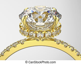 3D illustration isolated zoom macro yellow gold ring with diamonds