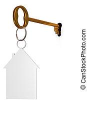 3d illustration key to open the door
