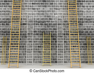 Ladders against brick old wall