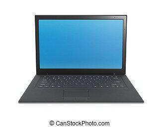 3d illustration: Laptop black, blue blank screen on white background