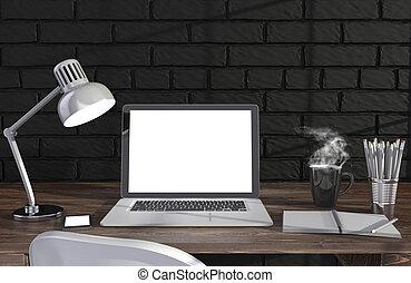 3D illustration laptopand work stuff on table near brick ...