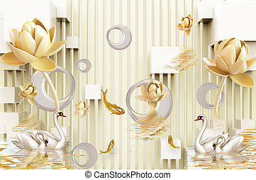 3D illustration, light background, vertical stripes, white ceramic asymmetrical rings, large and small beige water lilies, two pairs of swans in the water, goldfish