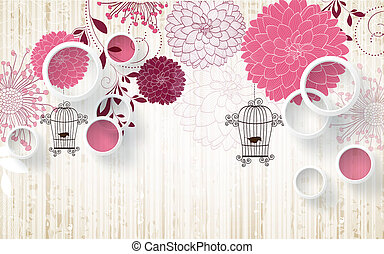 3d illustration, light background, white rings, abstract round red and pink flowers, two birds in cages