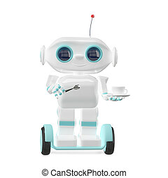 3D Illustration Little Robot with Coffee