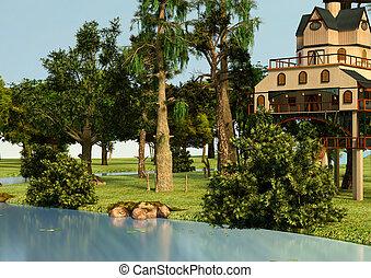 3D Illustration Lodge Style Tree House