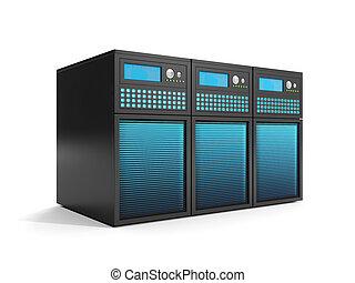 3d, illustration:, mémorisation des données, a, groupe, de, serveurs, dans, gros plan