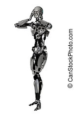 3D Illustration Male Cyborg on White