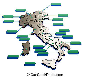 3D illustration, Map of Italy with Italian regions on white background