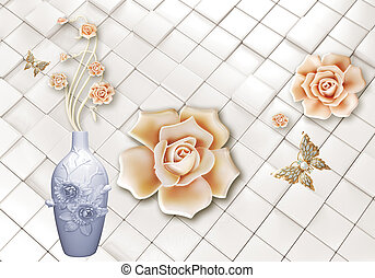 3d illustration, marble background, silver pearls, large and small beige gilded roses, two white ceramic swans, reflection in water