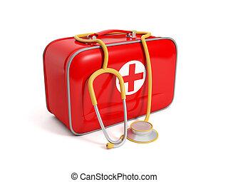3d illustration: medical kit on a white background