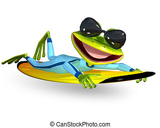 green frog on a surfboard - 3d illustration merry green frog...