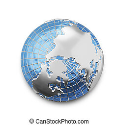 3D Illustration Metal Globe From Above