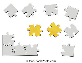 3d illustration metal puzzle pieces