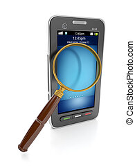 3d illustration: Mobile technology. Mobile phone and a magnifying glass to find the information