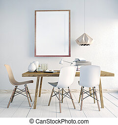 3d illustration, modern interior area of study. poster mock up