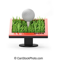 3d illustration: Monitor with a golf ball on a white background