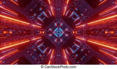 3d illustration motion background live wallpaper graphic artwork of a futuristic scifi space ship hangar tunnel corridor passageway with glowing neon lights and cool reflections visual vj loop