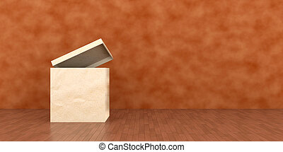 Moving - 3D Illustration. Moving Box in front of a wall.