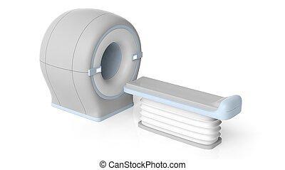 3D illustration MRI scanner, isolated on white background