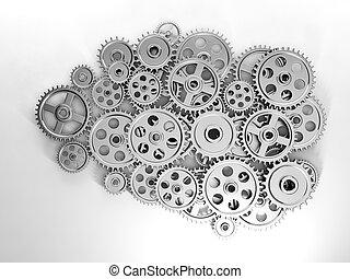 3d, illustration:, negócio, ideas., cérebro, em, engrenagem, feito, ??of, a, geração, de, idéias novas