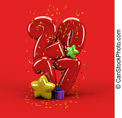 3d illustration new year 2017 typography