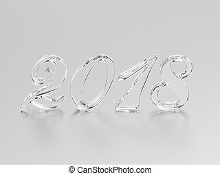 3D illustration new year 2018 glass or ice numbers