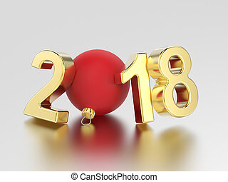 3D illustration new year 2018 gold numbers and a red Christmas ball